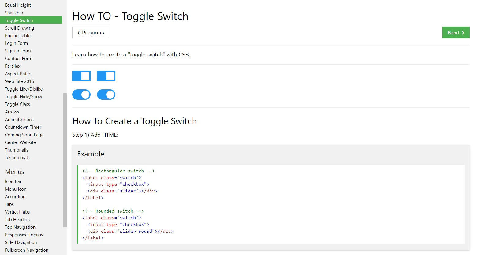 Tips on how to  provide Toggle Switch